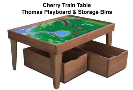 Cherry Train Table With Storage Bin Trundle Drawer